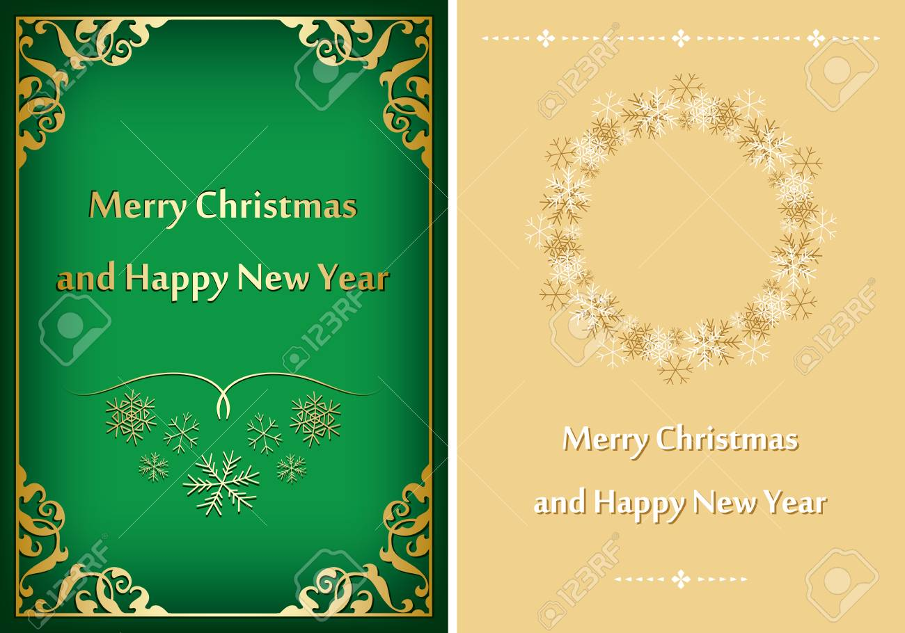 Green And Beige Greeting Cards For Christmas Vector Postcards