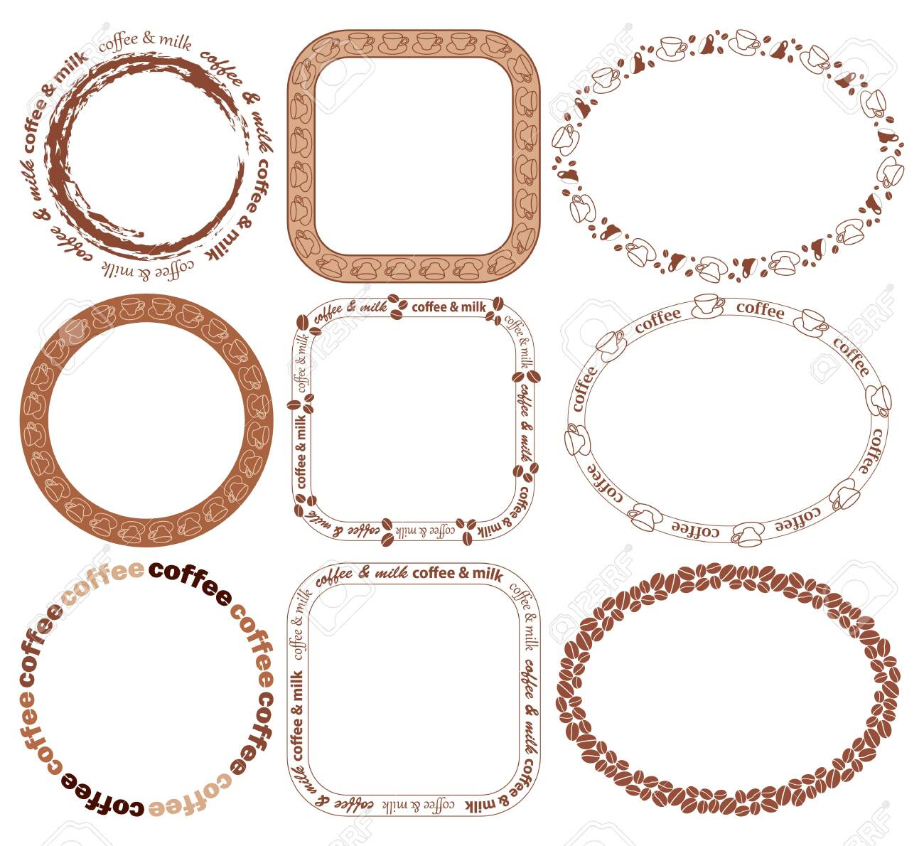 Decorative Frames With Coffee Grains And Coffee Cups Vector Royalty Free Cliparts Vectors And Stock Illustration Image 138880456