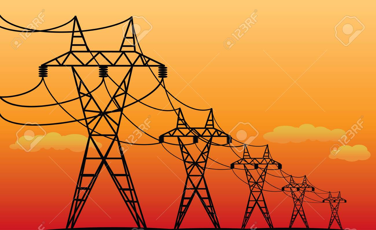electric transmission lines - vector black silhouettes at evening - 139128517