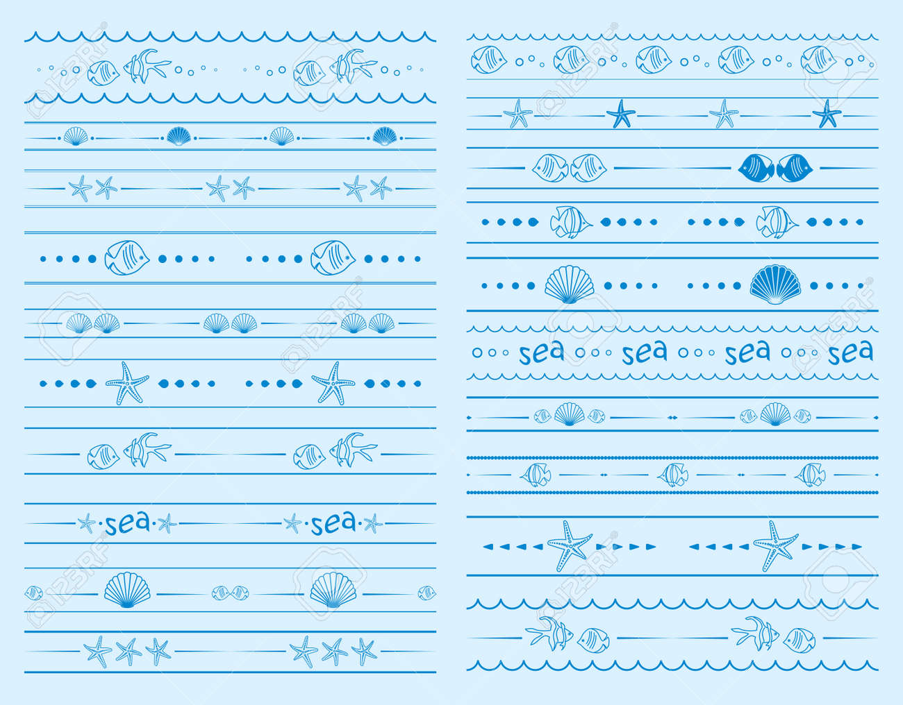 seamless borders with sea starfish and shells and fish - vector set - 151958523