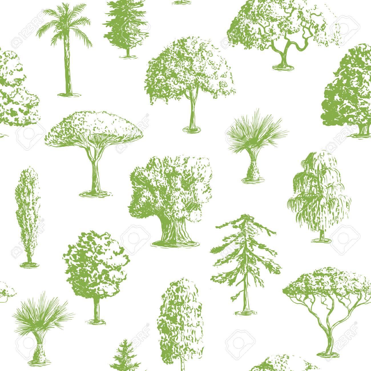 Seamless Vector Hand Drawn Tree Pattern. Oak, Olive, Apple-tree ...