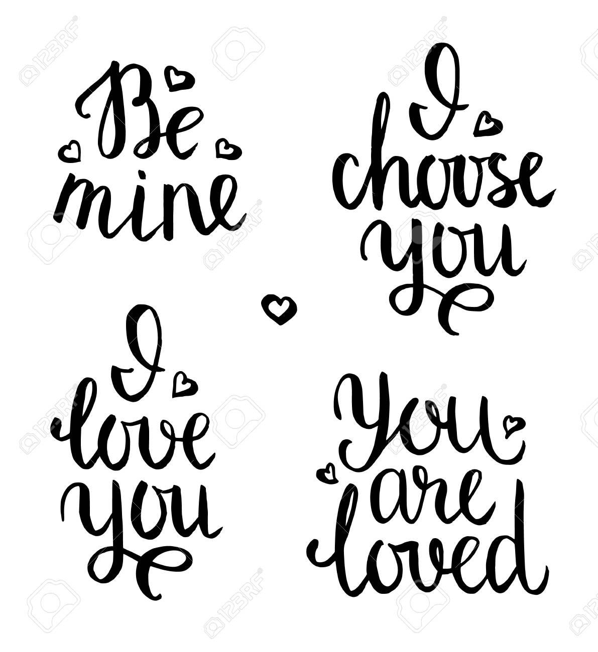 Frases Desenhadas Mão Conjunto De Letras Românticas Citações Positivas Do Dia Dos Namorados Seja Meu Eu Te Amo Você é Amado Eu Escolho Você
