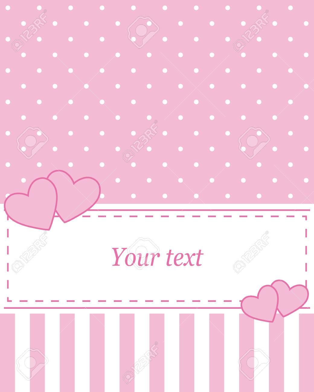 Elegant pink vector card advertising or wedding invitation with elegant pink vector card advertising or wedding invitation with polka dots on a white stopboris Images