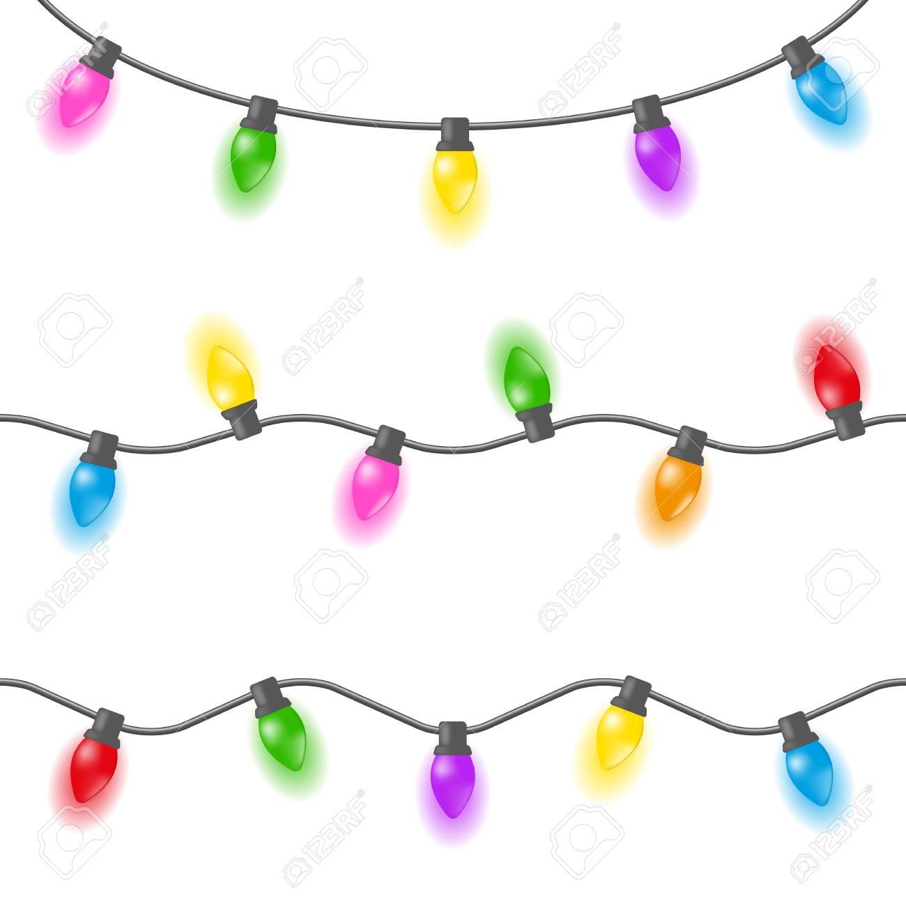 Set Of Christmas Lights, Garland Of Multi-colored Light Bulbs ...