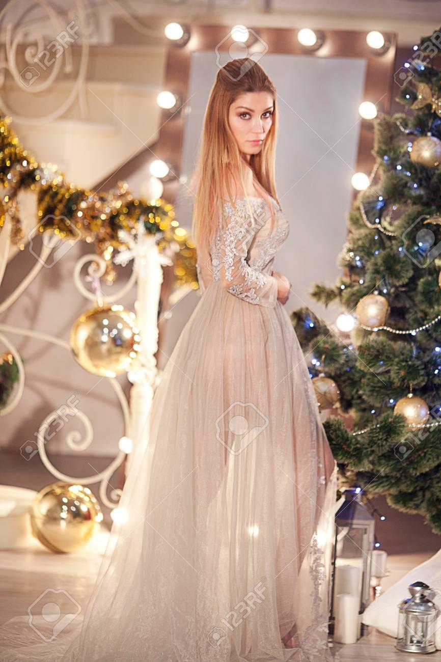Long Hair Beautiful Brunette Girl In Fashion Luxury Dress Style