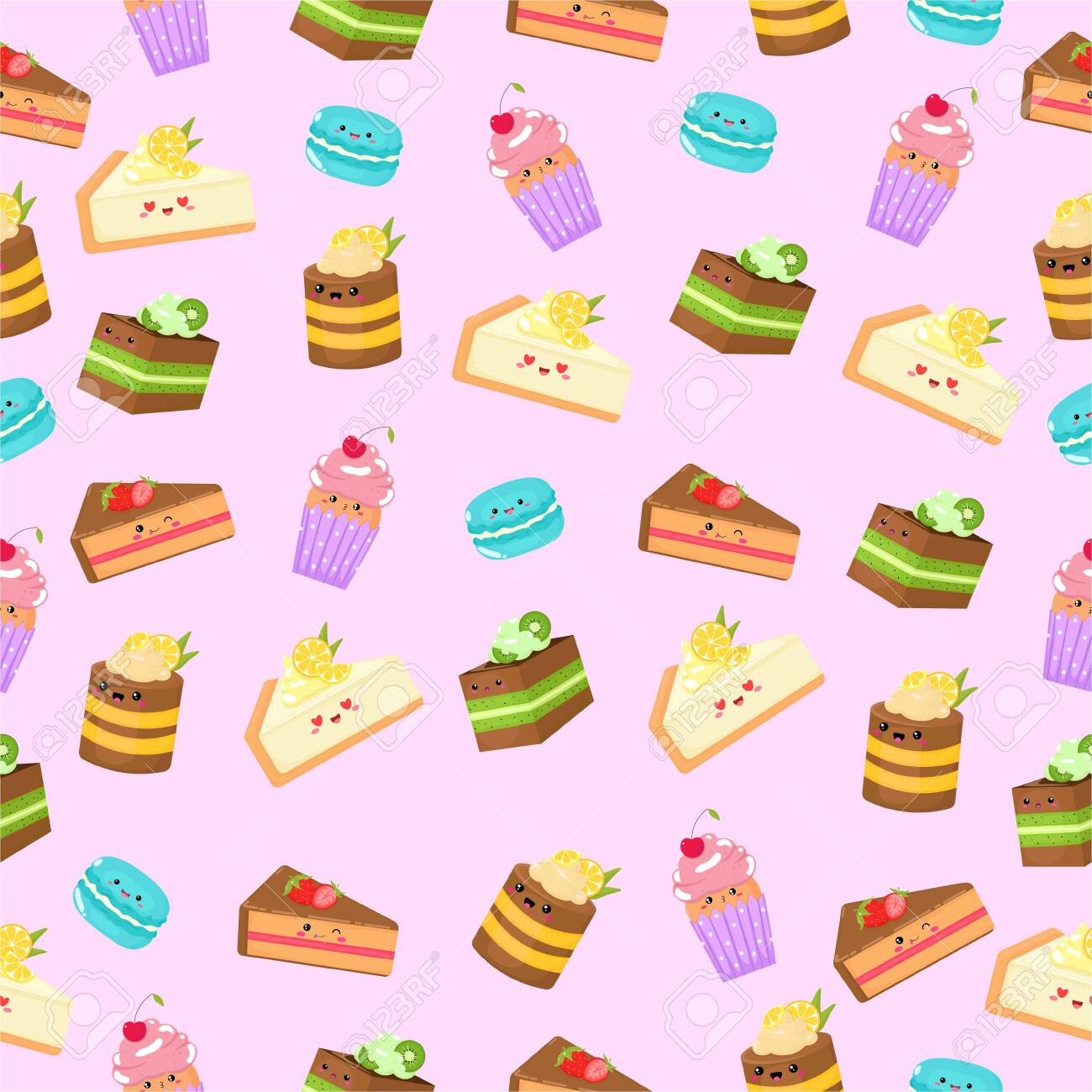 Vector graphics. Cute pattern with different sweet pastries. Funny cartoon characters. Colorful pattern. - 133980046