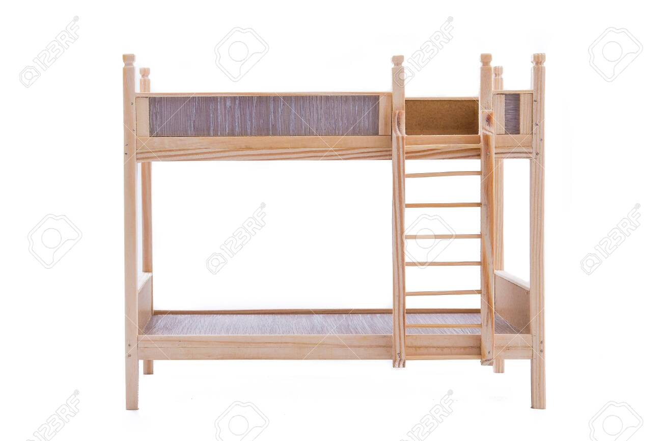 Toy Wooden Bunk Bed For A Doll Isolated On White Background Stock Photo Picture And Royalty Free Image Image 145487851