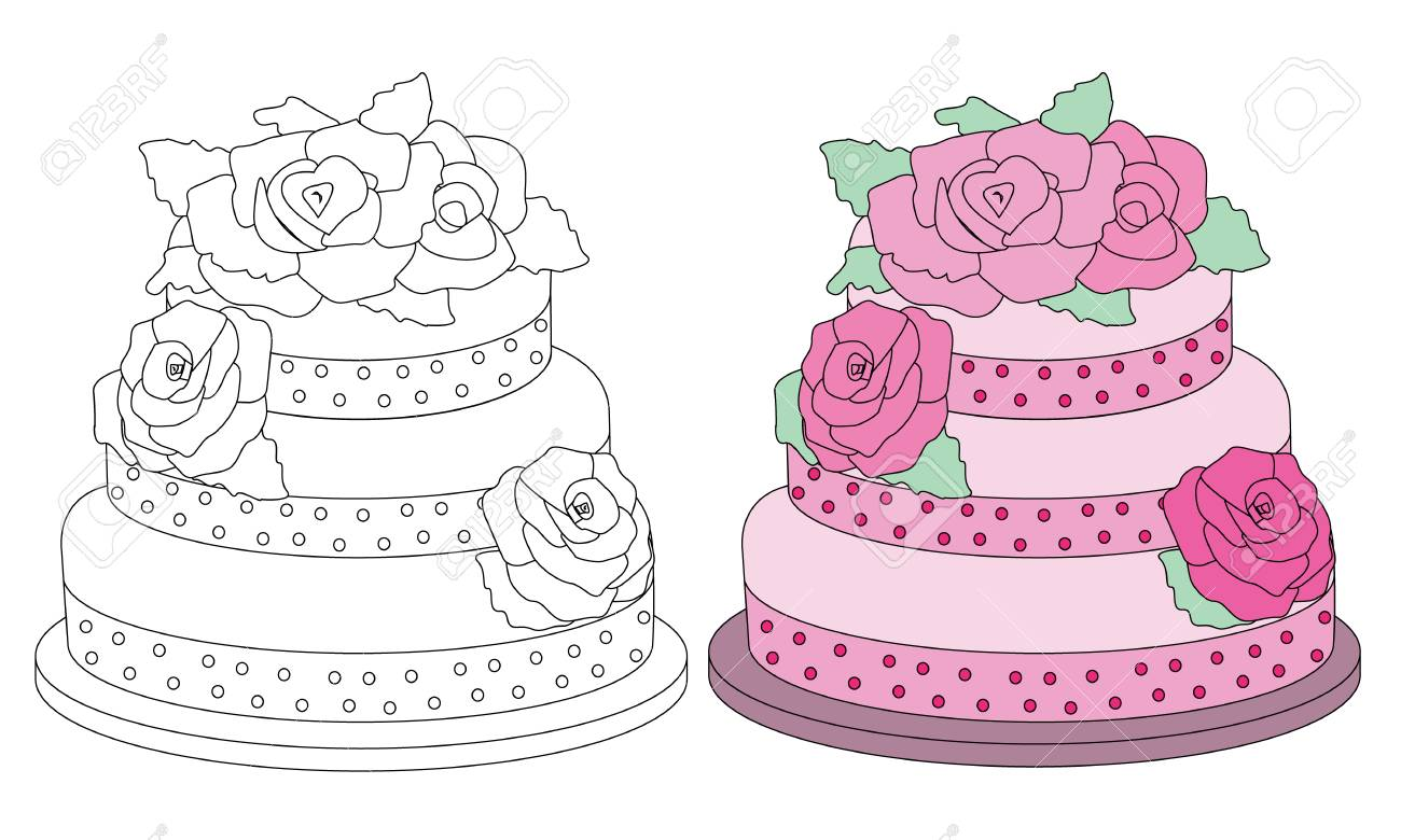 Coloring Book Page Pink Cake. Sketch And Color Version. Royalty Free ...