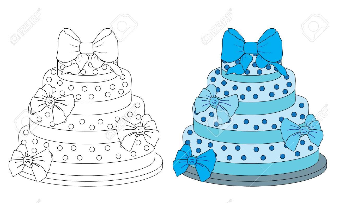 Pastel De Cumpleaños De Página De Libro De Colorear Para Bebés ...