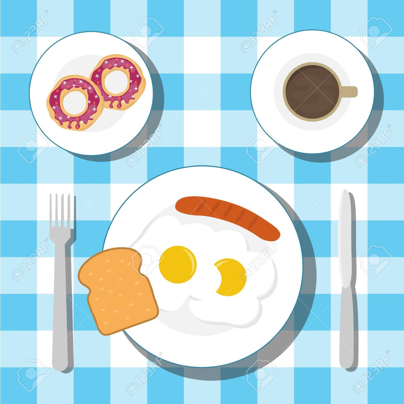 Breakfast on the table with a tablecloth. Breakfast of fried eggs with sausage and coffee with donuts. Vector. - 134877644