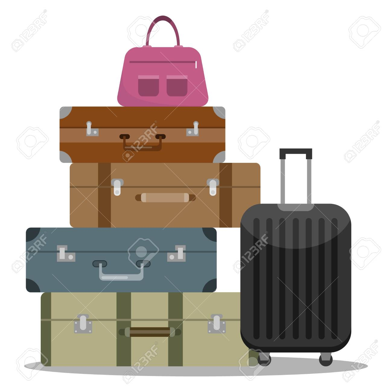 A set of tourist suitcases. Different options for tourist suitcases. A large set of tourist suitcases. Vector illustration, vector. - 134877951