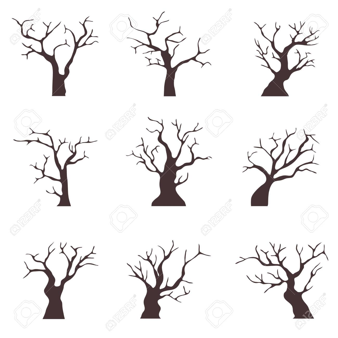 Old trees without leaves. A collection of old black trees with dry branches. Cartoon illustration of old dry wood. Vector - 135163655