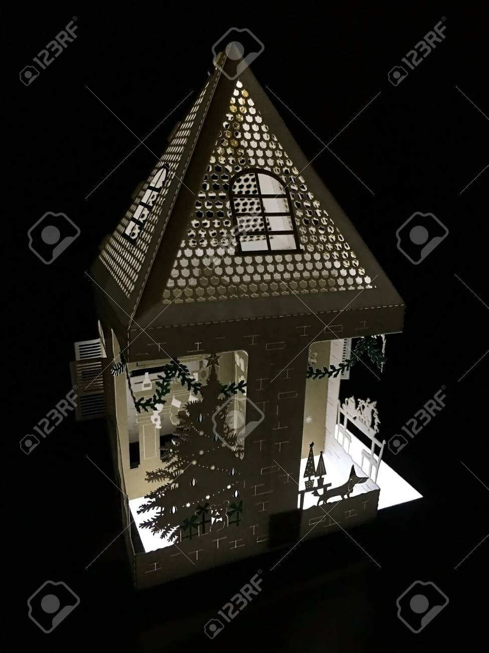Lit Up 3d Holiday Paper House With A Christmas Tree Laser Cut