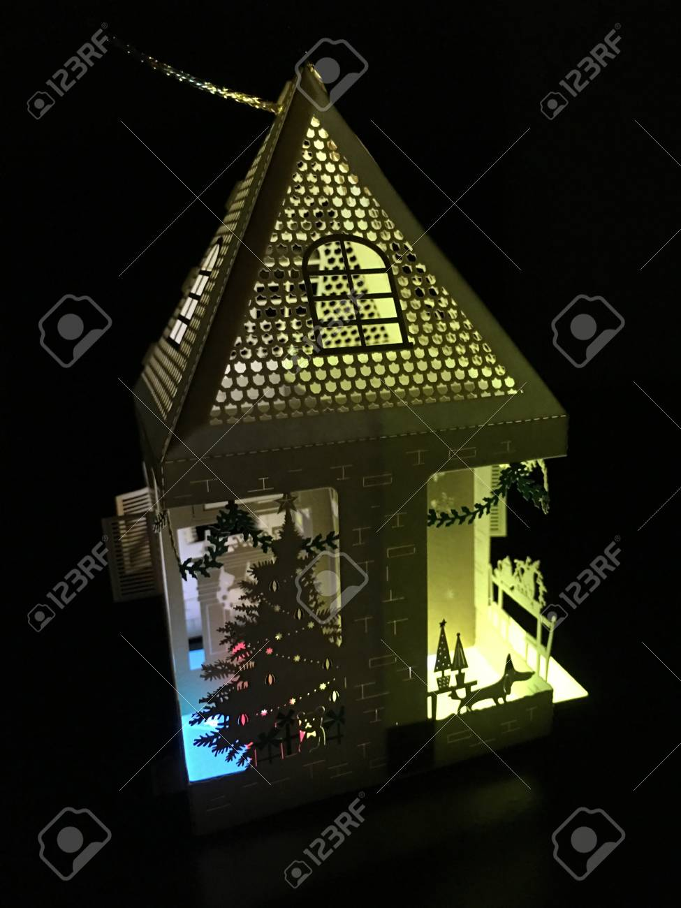Lit up 3d holiday paper house with a christmas tree laser cut lit up 3d holiday paper house with a christmas tree laser cut ornament decoration greeting card m4hsunfo