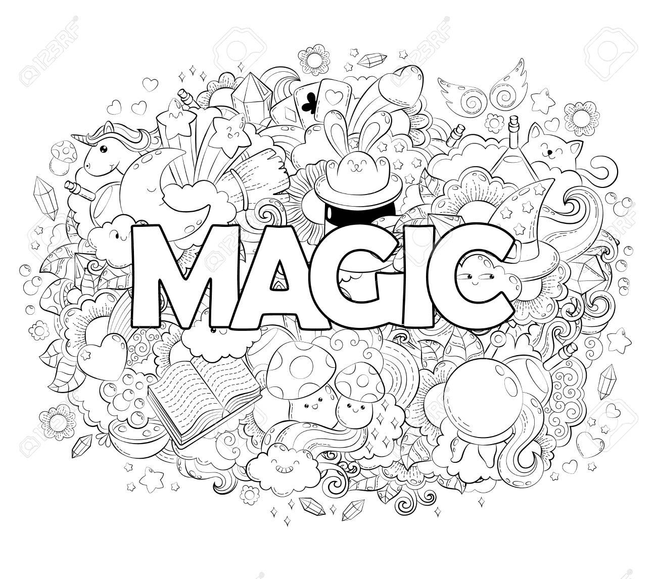Concept D Halloween Illustration De Dessin Anime Doodle Dessines A La Main Motif Magique Illustration Pour Livre De Coloriage Adulte Croquis Pour