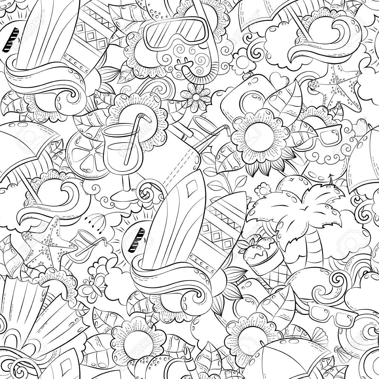 Coloriage Adulte Ete.Fond Abstrait Doodle Vectorielle Continue Fond D Ecran De Dessin Anime De L Ete Comic Pattern Page Du Livre De Coloriage Anti Stress Pour Adultes