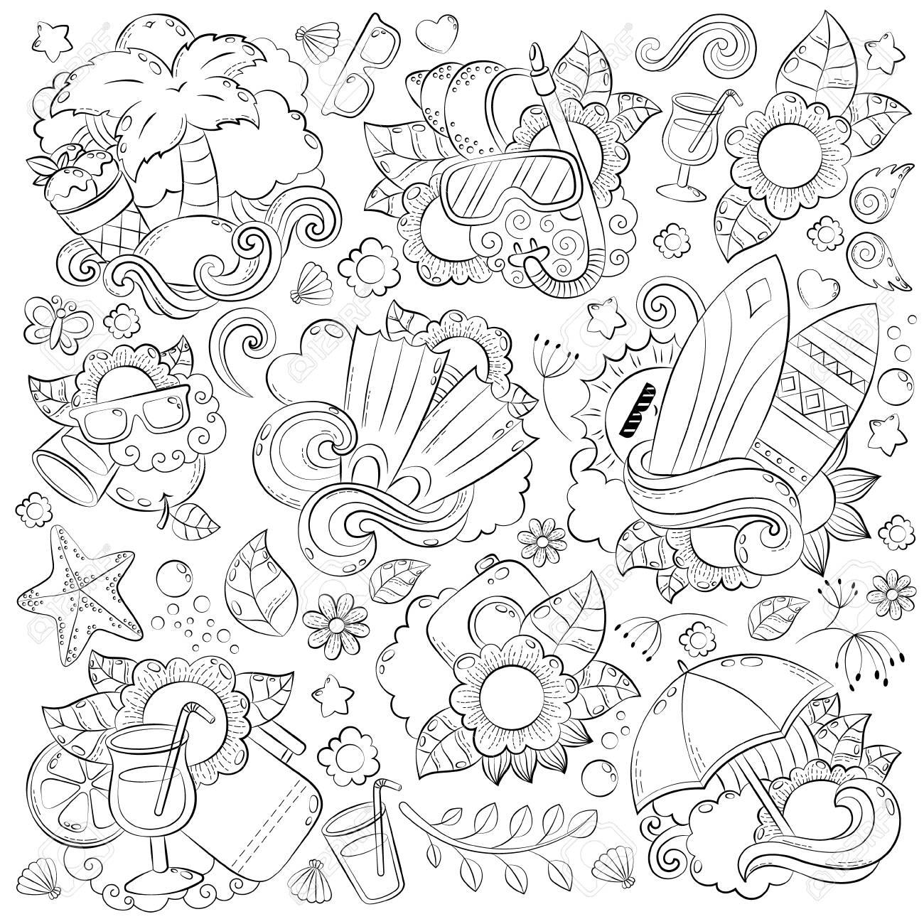 Coloriage Adulte Ete.Doodle Dessines A La Main Vecteur Abstrait Texture Motif Papier Peint Toile De Fond Collection D Elements D Ete Vacances D Ete Voyage Loisirs