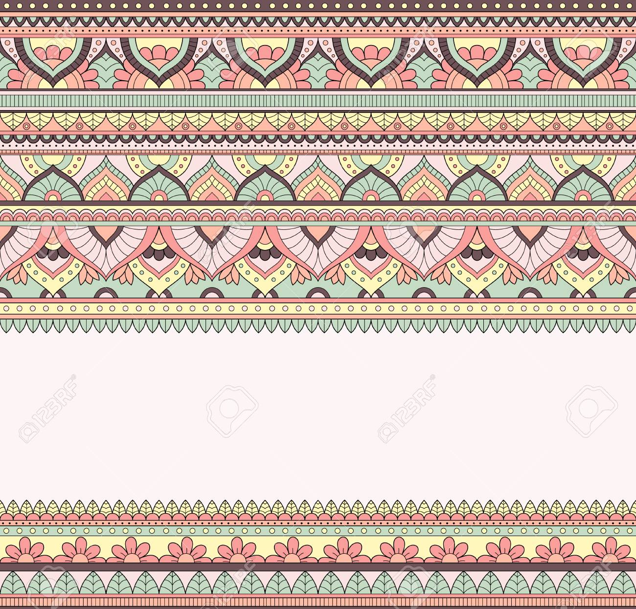 Seamless doodle illustration, zentangle pattern, wallpaper, background, texture. Indian Orment.