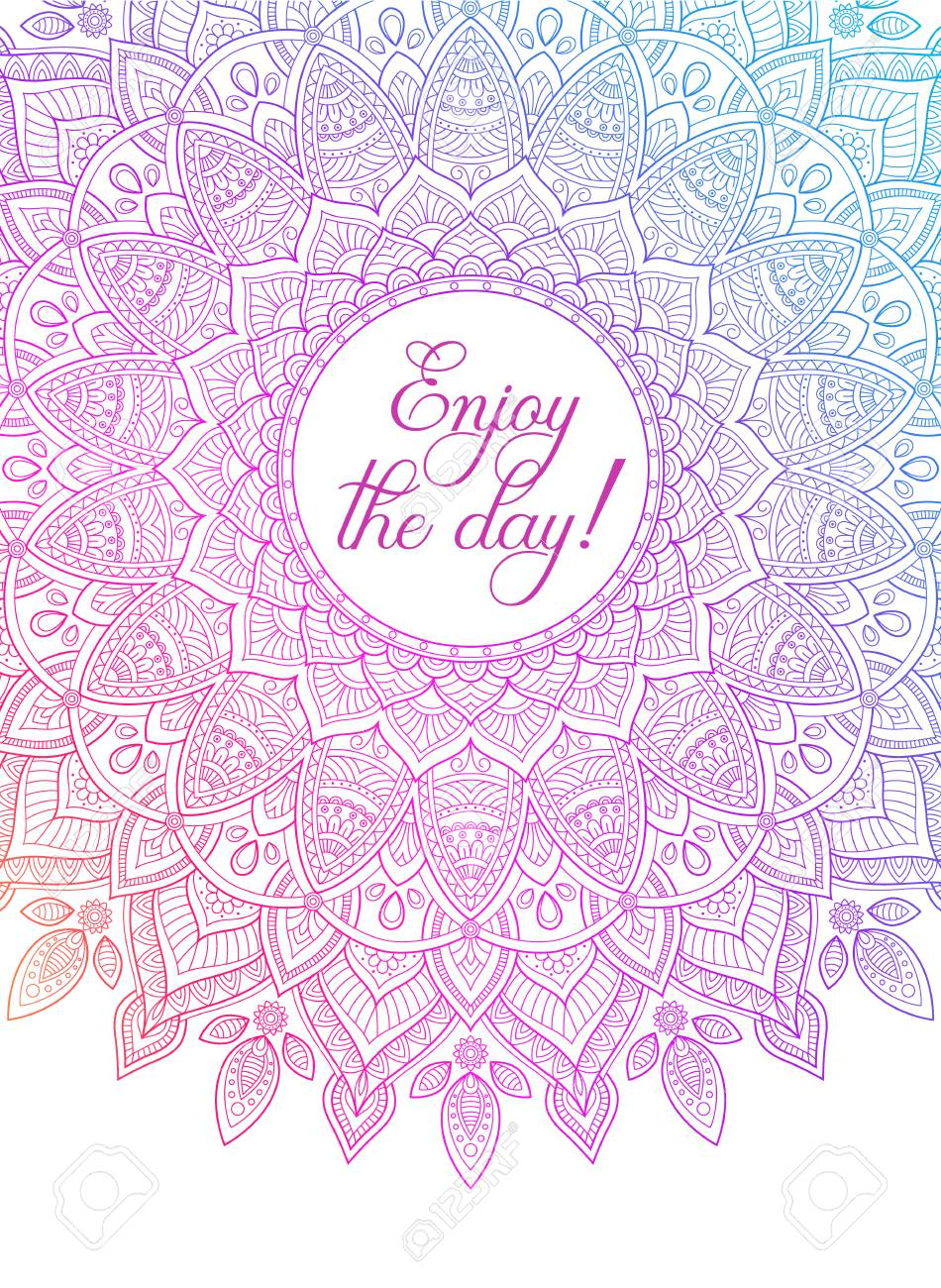 Vector Colorful Zentangle Mandala Banner Wish Congratulations Postcard Template For Printing