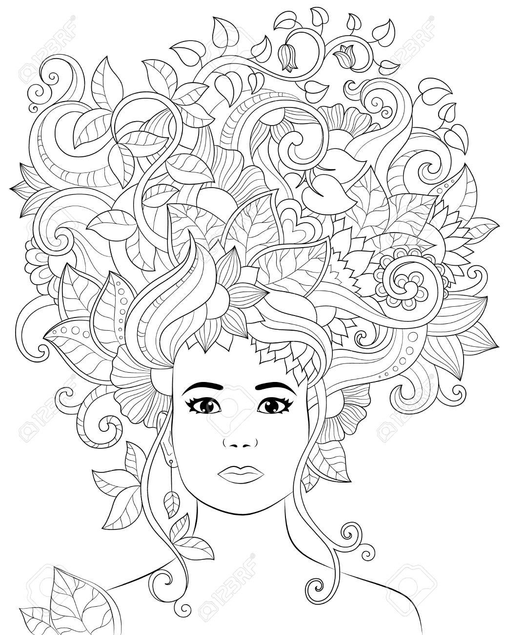 Femme D Illustration Dessines A La Main De Vecteur Avec Des Cheveux