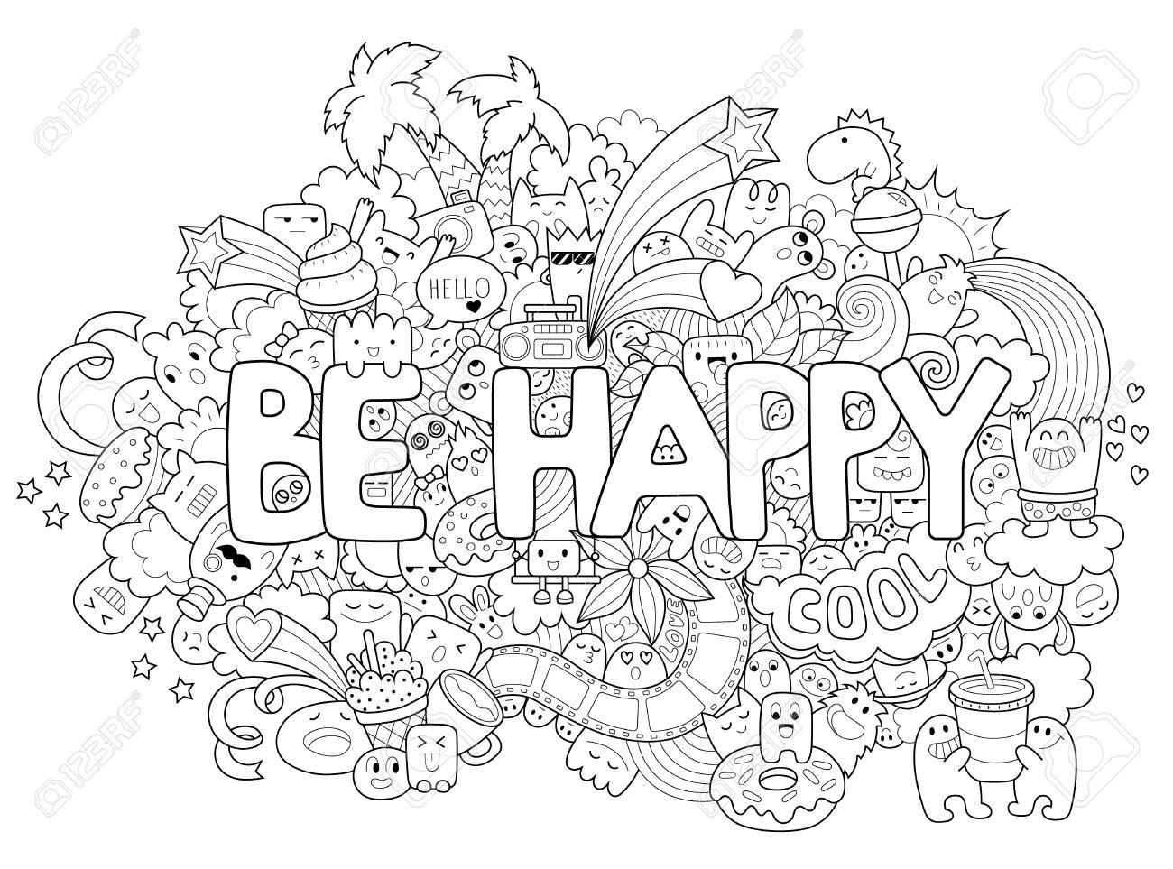 Página Para Colorear Imprimible Para Adultos Con Personajes De ...