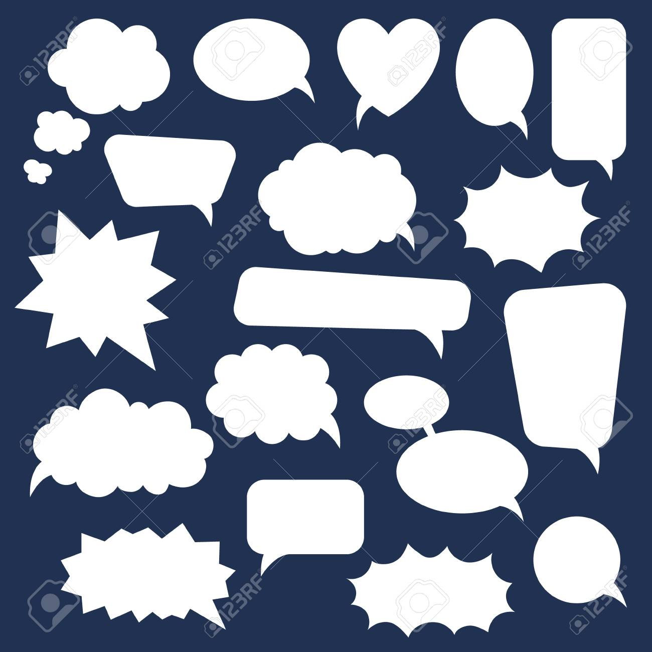 set of cartoon doodle speech bubbles template for advertising