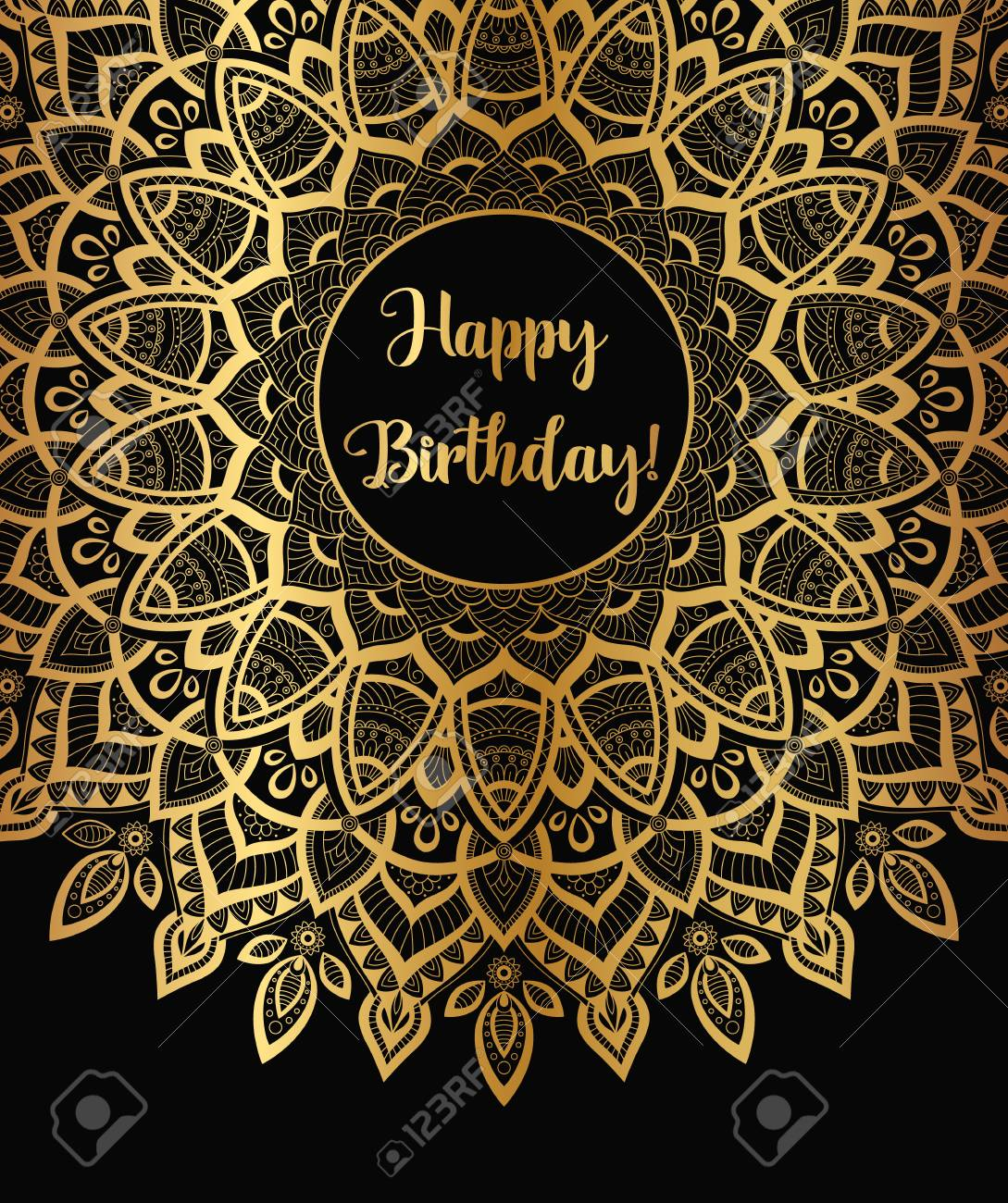 Vector Golden Zentangle Mandala Banner Wish Congratulations Postcard Template For Printing