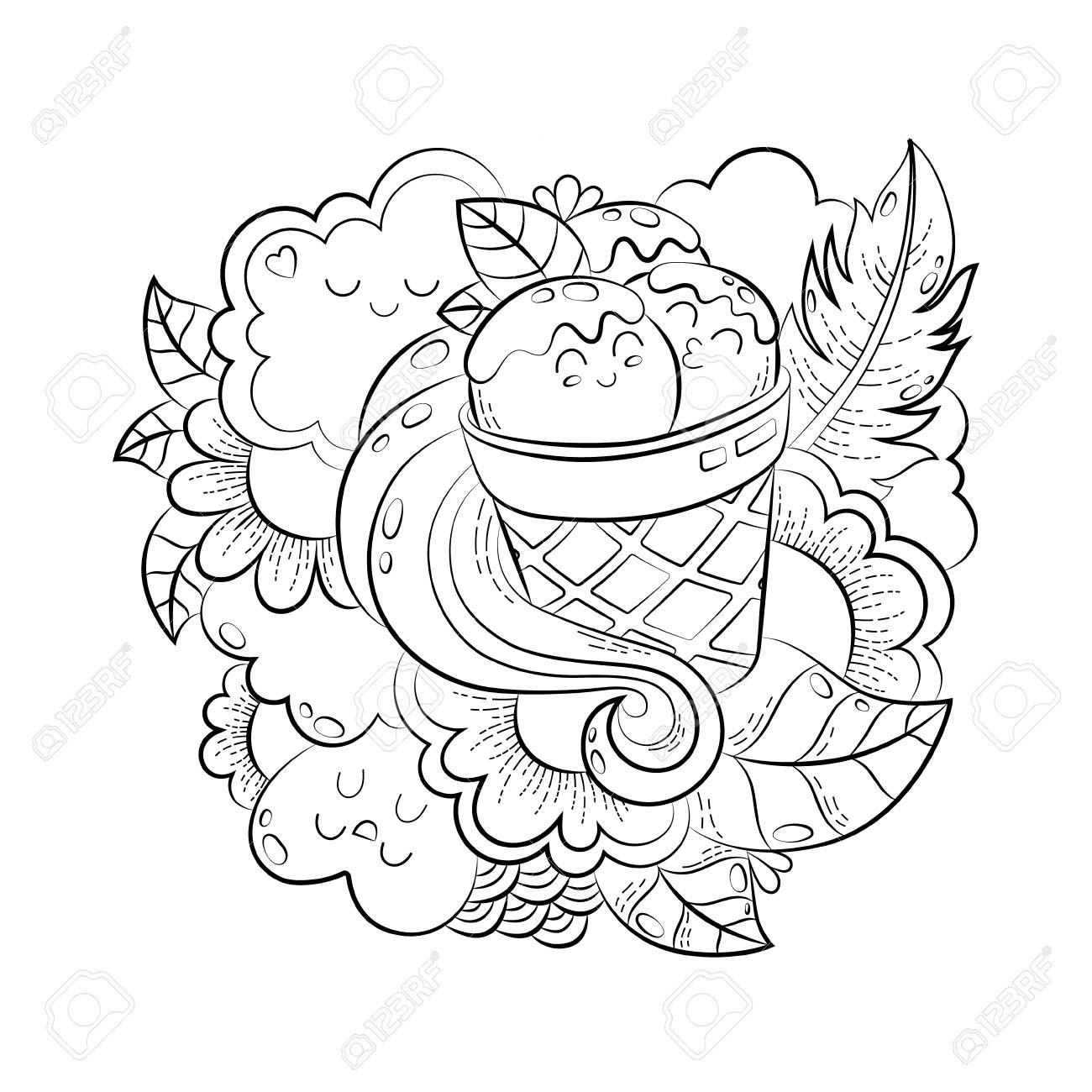 Vector hand drawn funny heart, cat, bird, sweet, cloud, balloon,..
