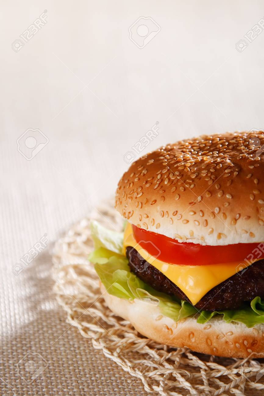 nice and simple beef cheese burger, shallow DOF Stock Photo - 3842310