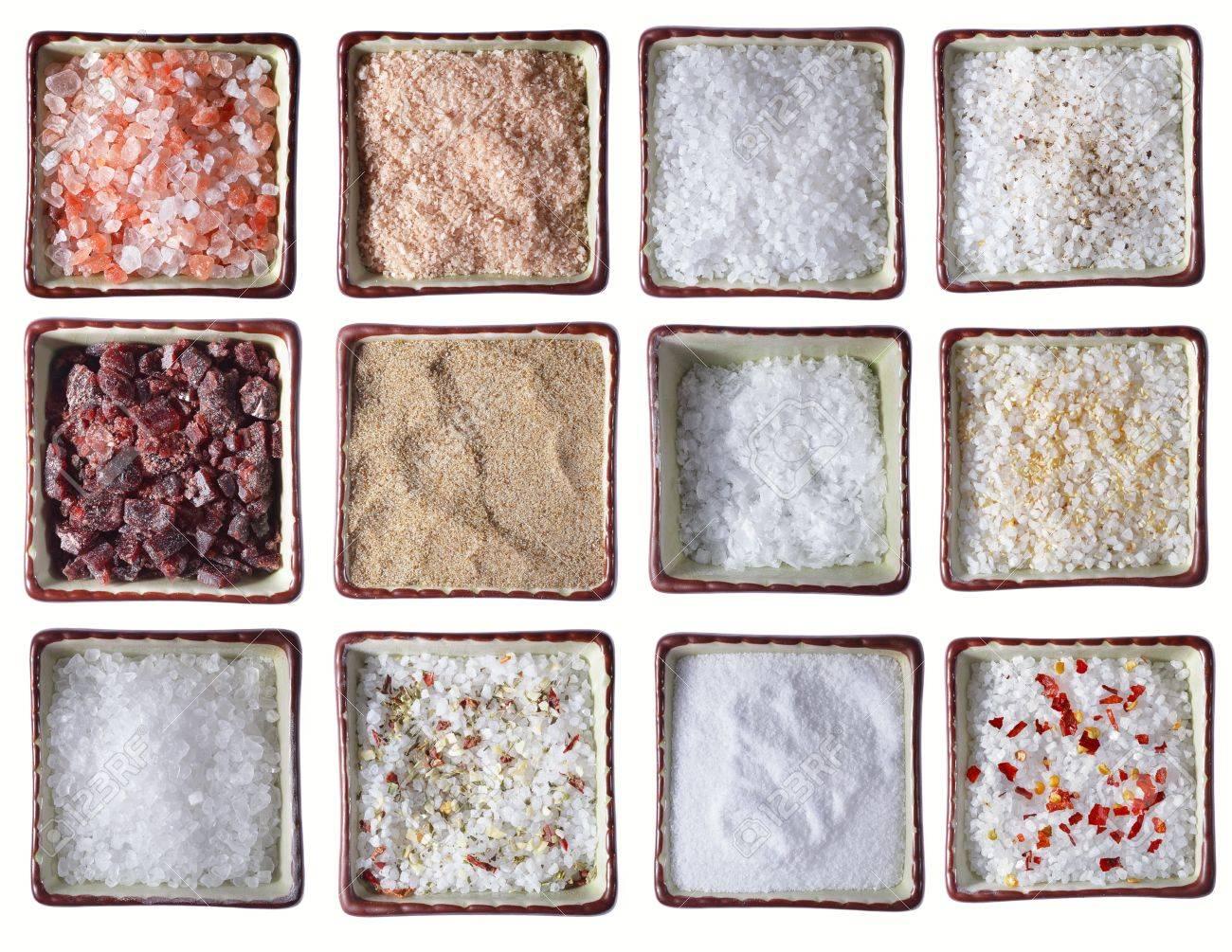 Salt Pepper: Twelve Types Of Sea Salt In Square Bowls, Over White