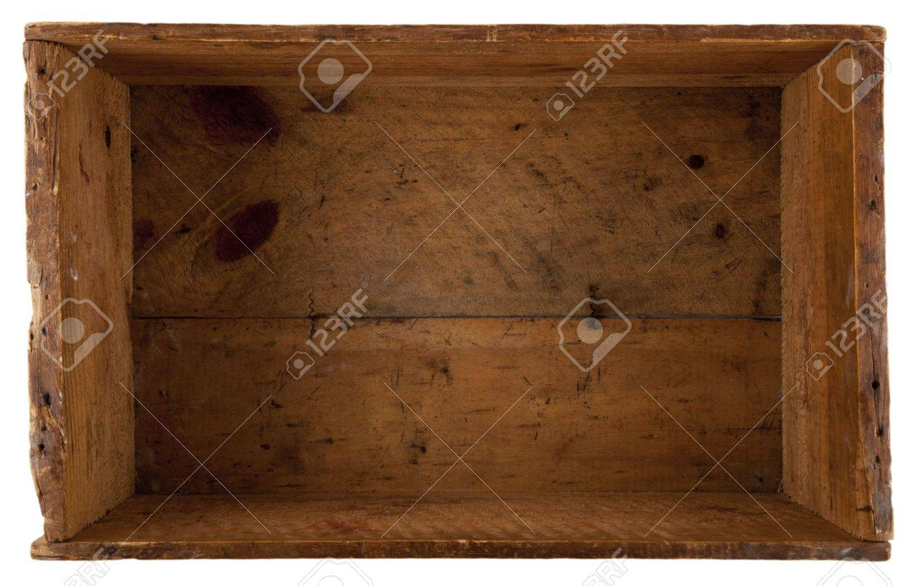 take a look inside the really old wooden box, isolated on white Stock Photo - 6259030