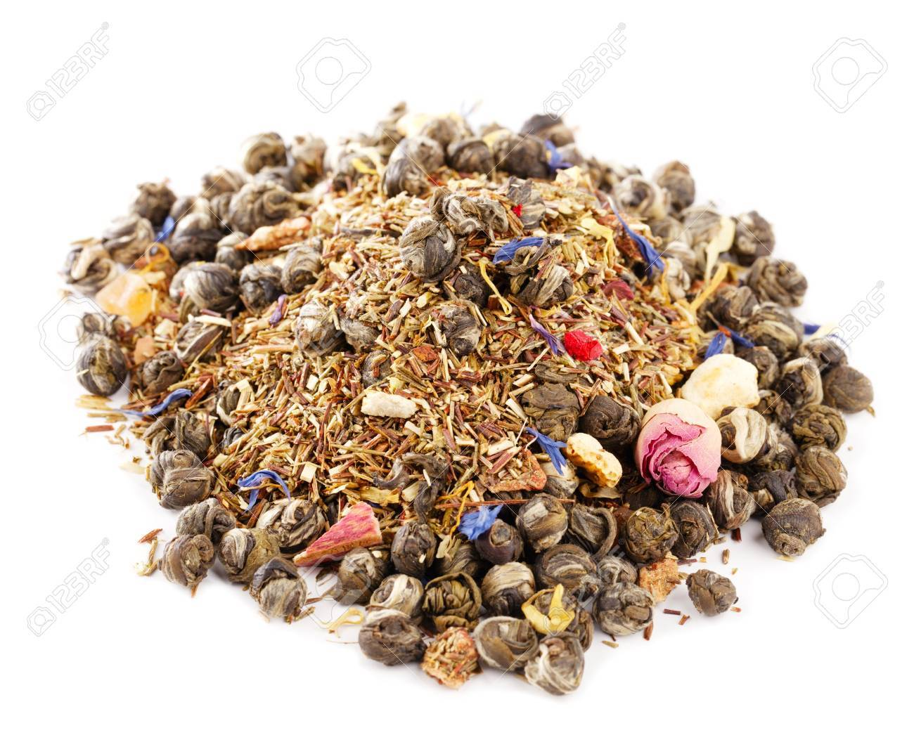 jasmine pearls green tea with red and green rooibos blend, over white Stock Photo - 14078119