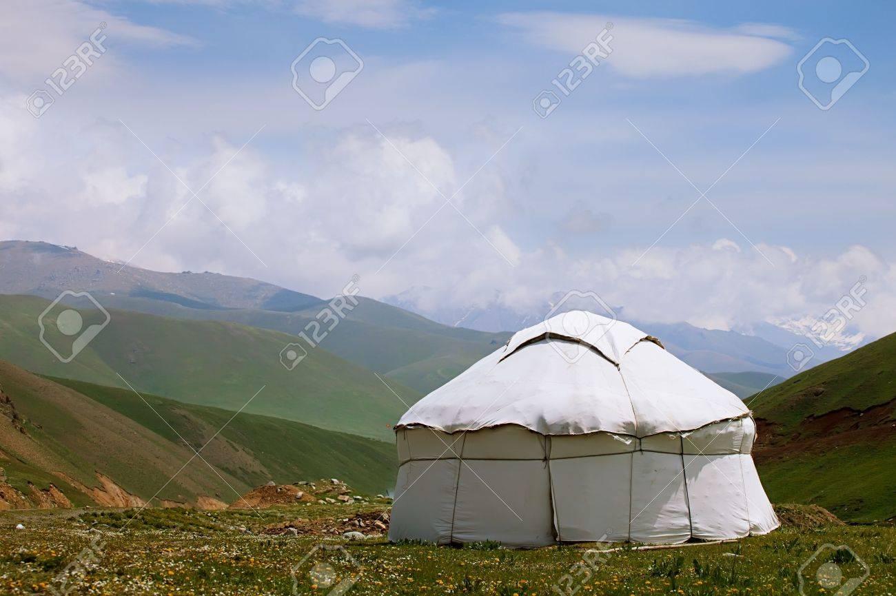 real shepherd yurt in kyrgyzstan Tien Shan mountain, alabel pass Stock Photo - 16452403