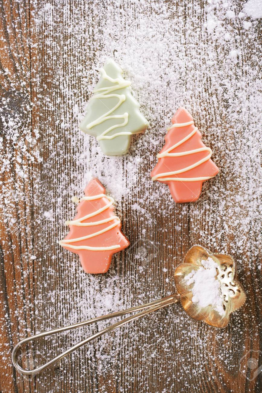 Pink Christmas Tree Homemade Sweets In Rustic Style On Wooden Stock Photo Picture And Royalty Free Image Image 34024036