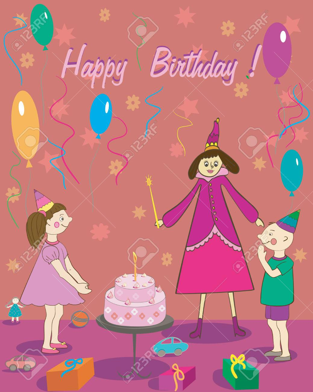 Happy Birthday Gift Girl Boy Cake And Fairy Illustration Stock Vector