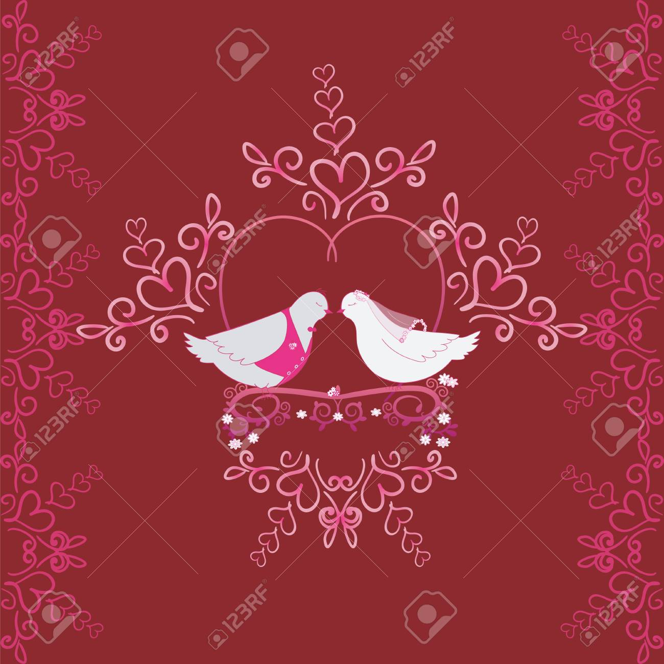 Illustration Of Wedding Pigeons And Heart. Seamless Texture Or ...