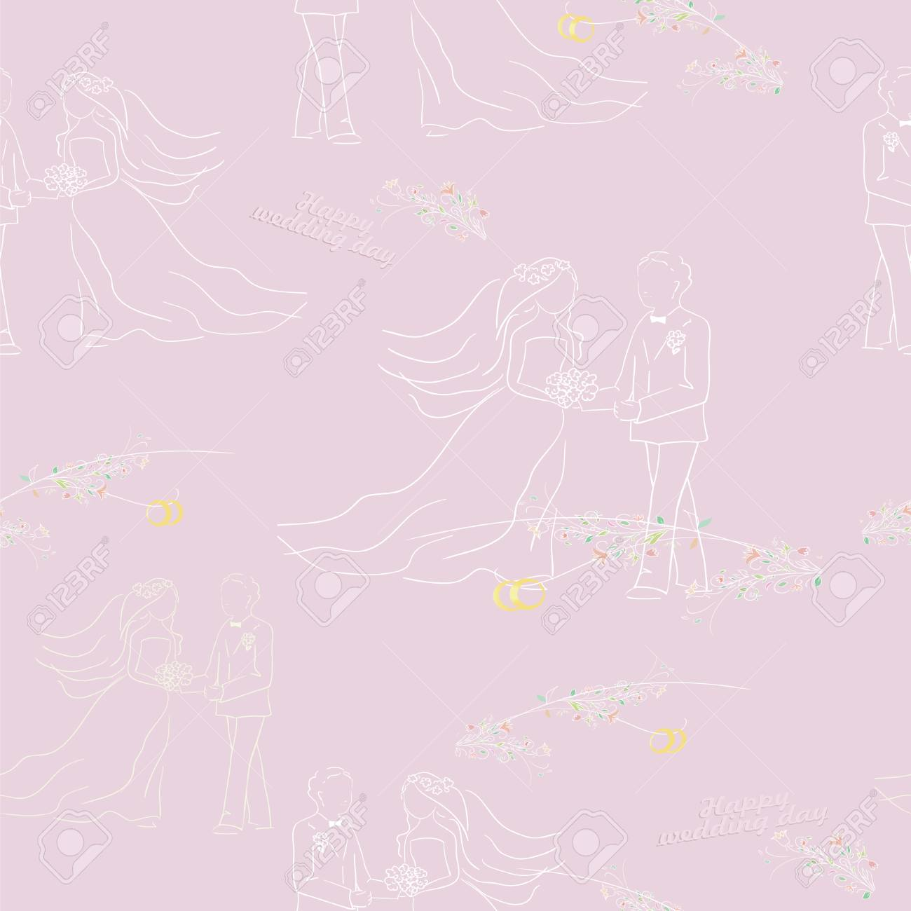 Wedding Illustration. Seamless Pattern With Groom Bride And Rings ...