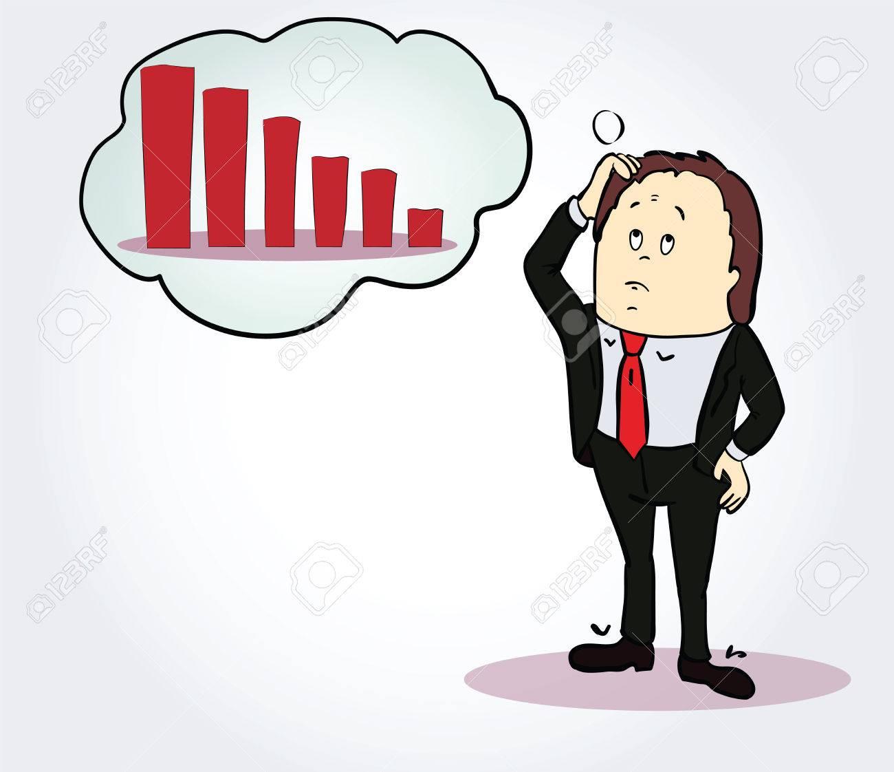 Empresario Y Carácter Diagrama Dibujos Animados Persona Pensando