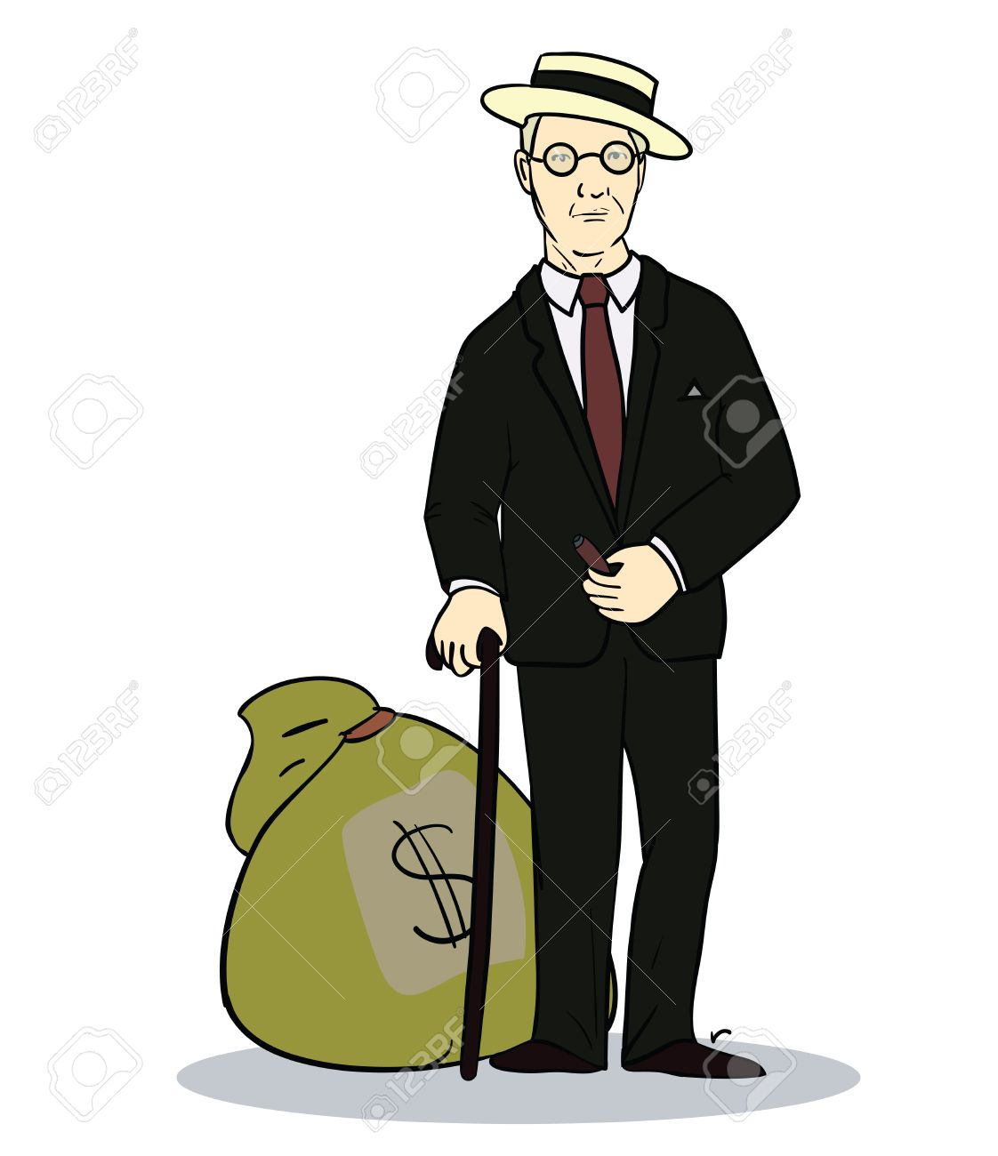 Old Rich Man With Sack Of Money. Illustration Of Trader Or ...