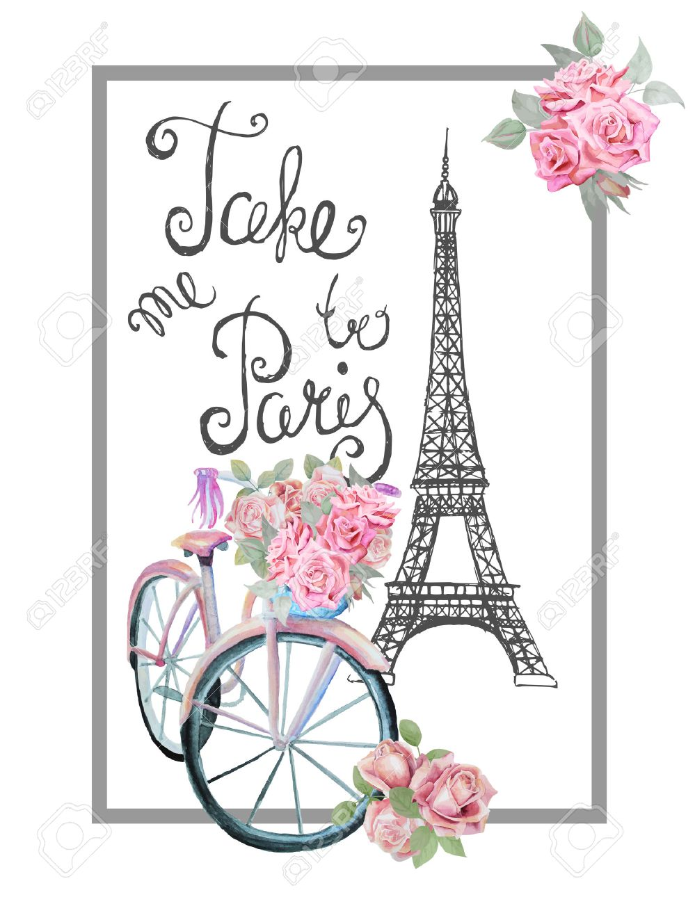 T-shirt print design with sign TAKE ME TO PARIS. Hand drawn Eiffel tower, watercolor retro bicycle and roses. - 43580803