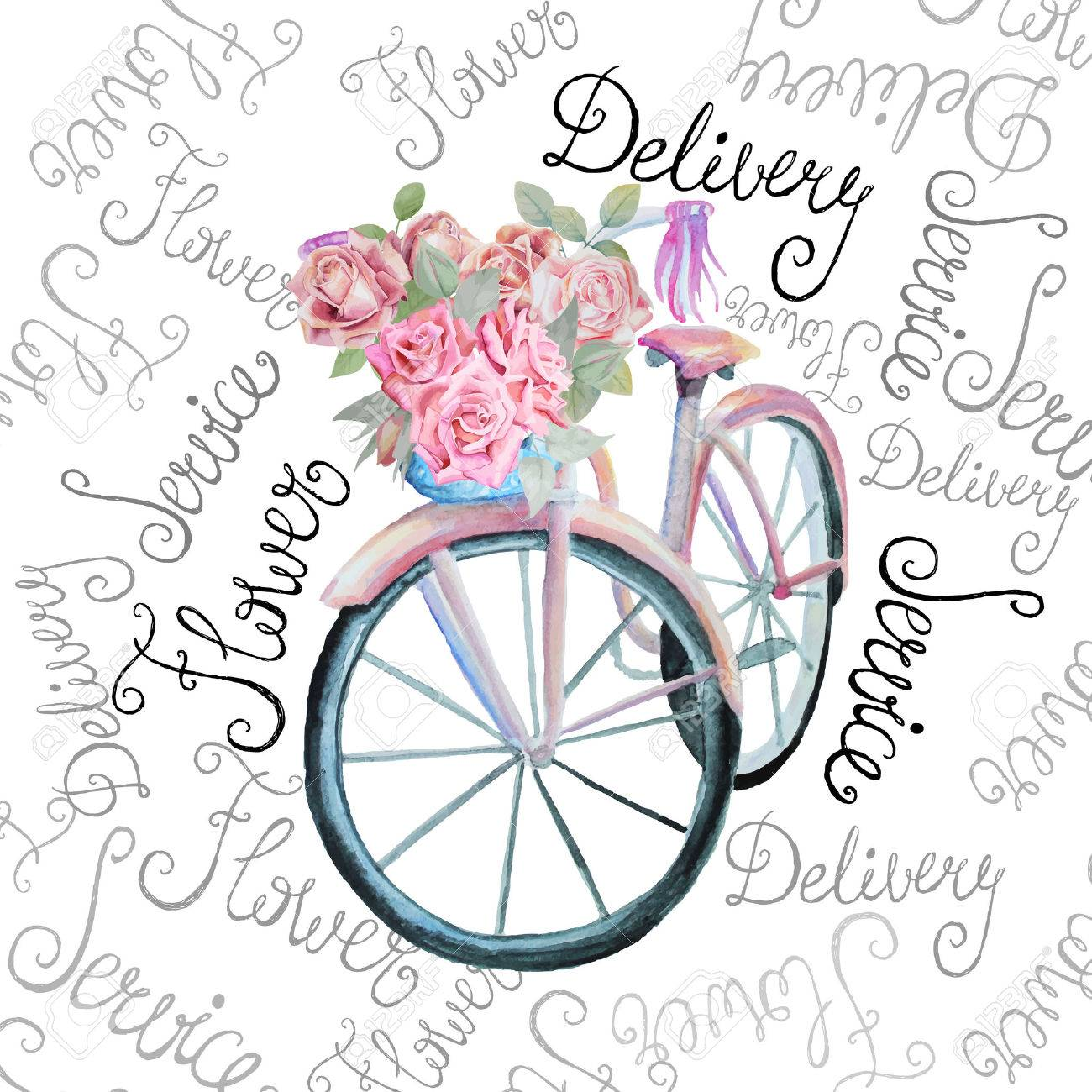 Watercolor retro bicycle with flowers illustration. Isolated. Stock vector. Flower delivery service shop. - 43580830