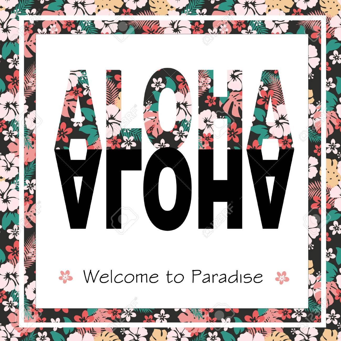 Vintage tropical exotic Hawaii print for t-shirt with slogan ALOHA. - 44844500