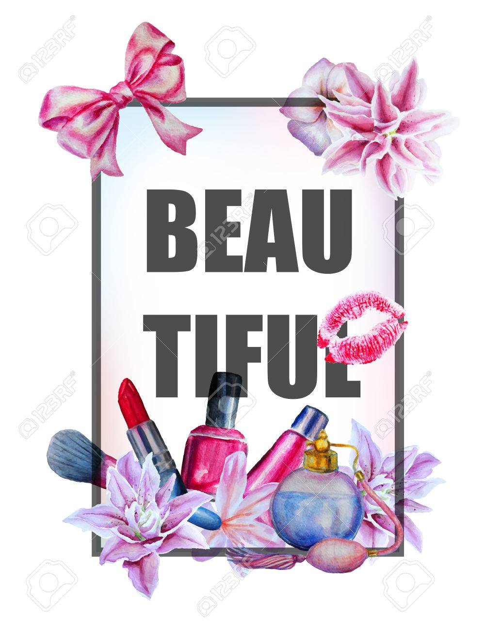Watercolor hand drawn flowers and cosmetics print background and slogan. - 46183734