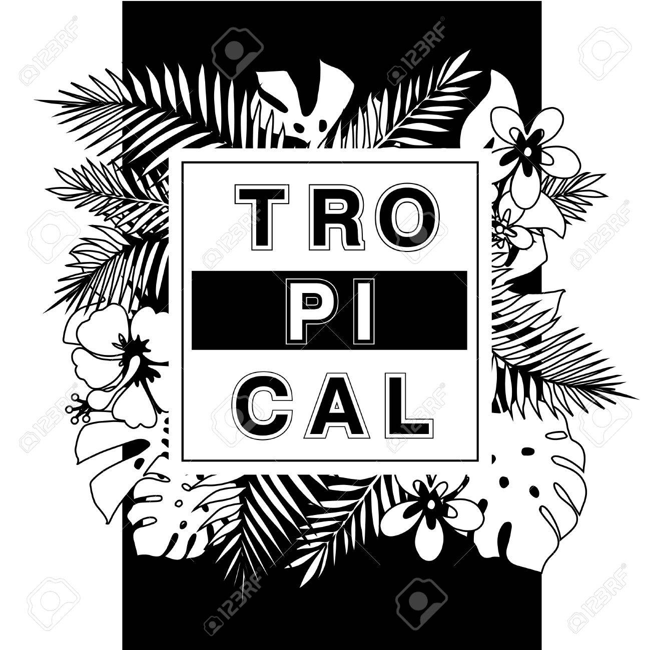 Tropical Paradise T Shirt Or Poster Design Print With Palm Leaves Royalty Free Cliparts Vectors And Stock Illustration Image 46754232 Trendy tiger pattern with tropical leaves. tropical paradise t shirt or poster design print with palm leaves