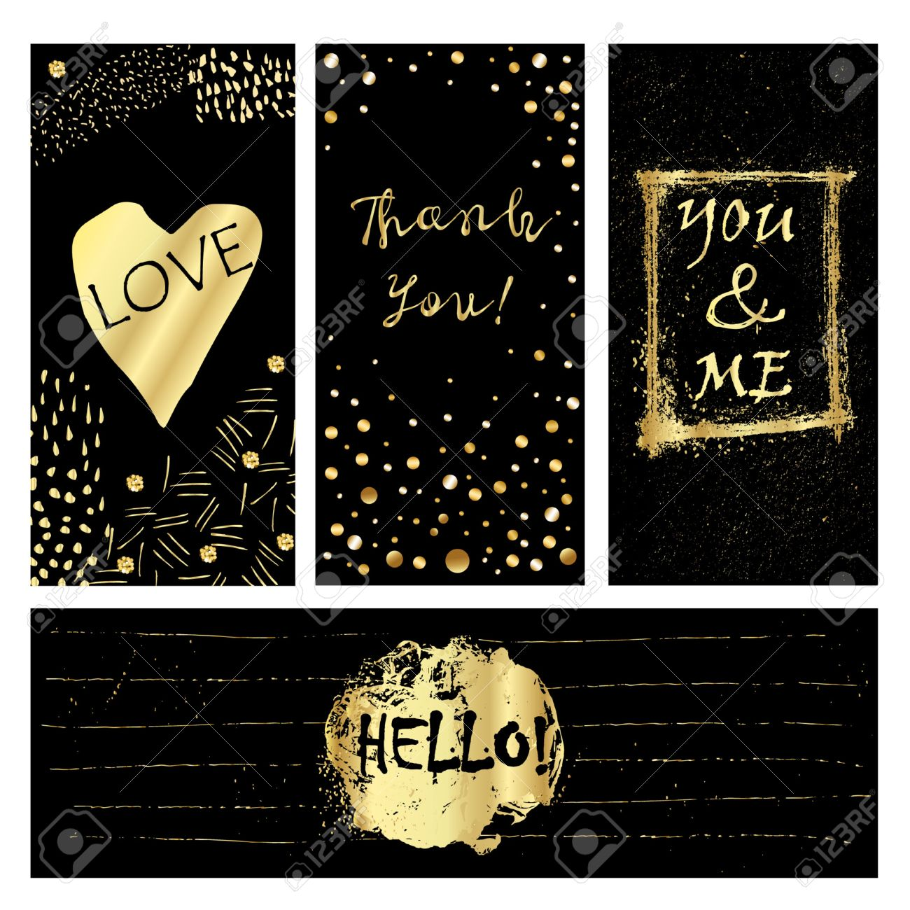 Cute cards with golden confetti and foil elements. Brush painted backgrounds. Use them for valentines day, birthday, save the date invitation. - 47400019