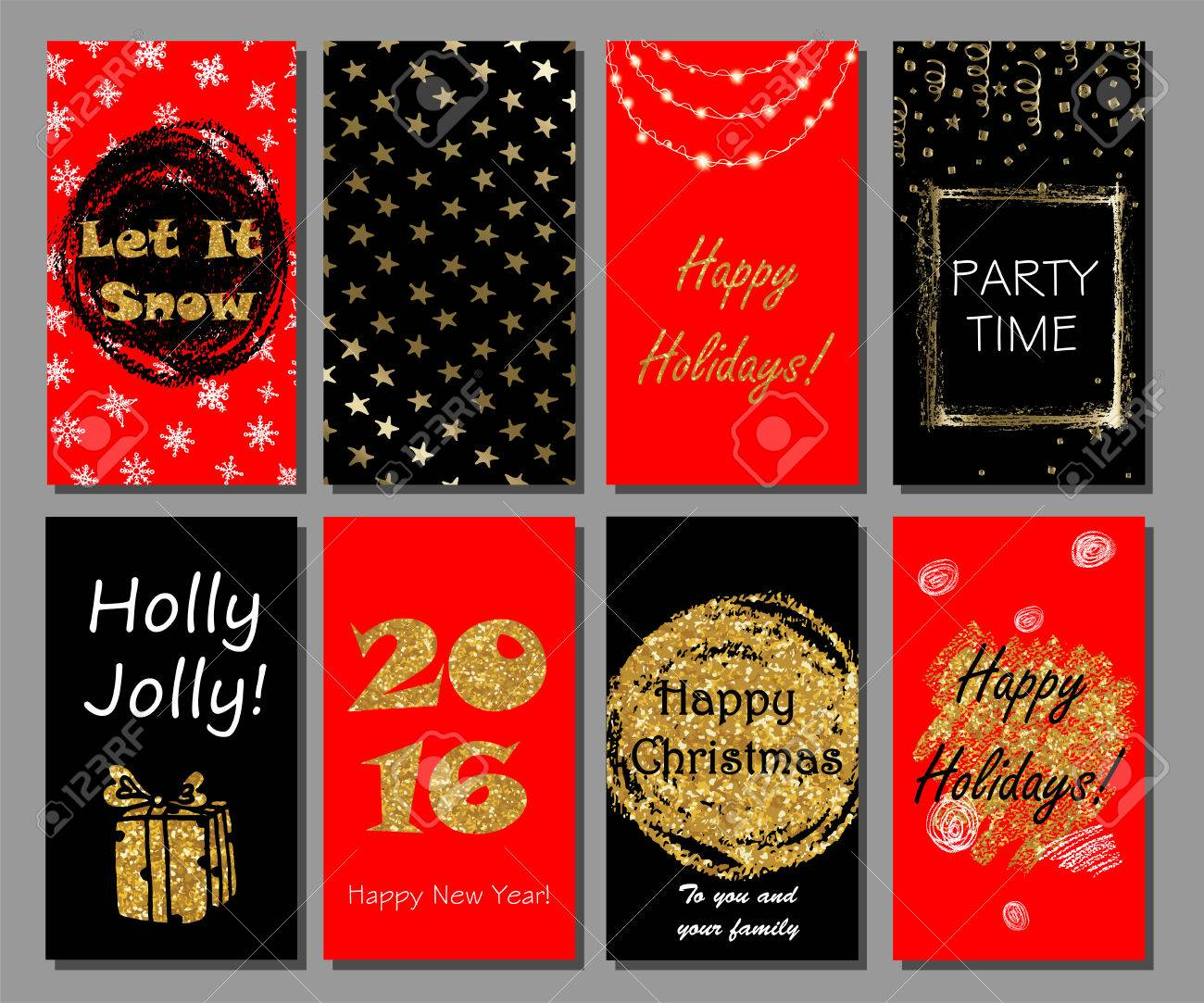 Christmas And New Year Handdrawn Cards Collection With Golden ...