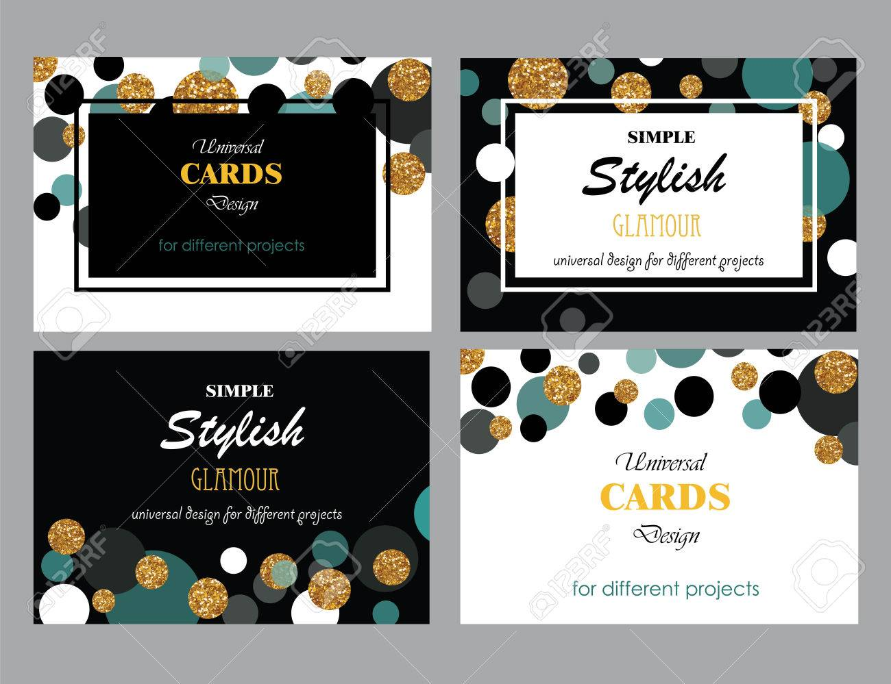 Collection of Universal Modern Stylish Cards Templates with Golden Geometrical Glitter Dots. Business cards. - 52953420
