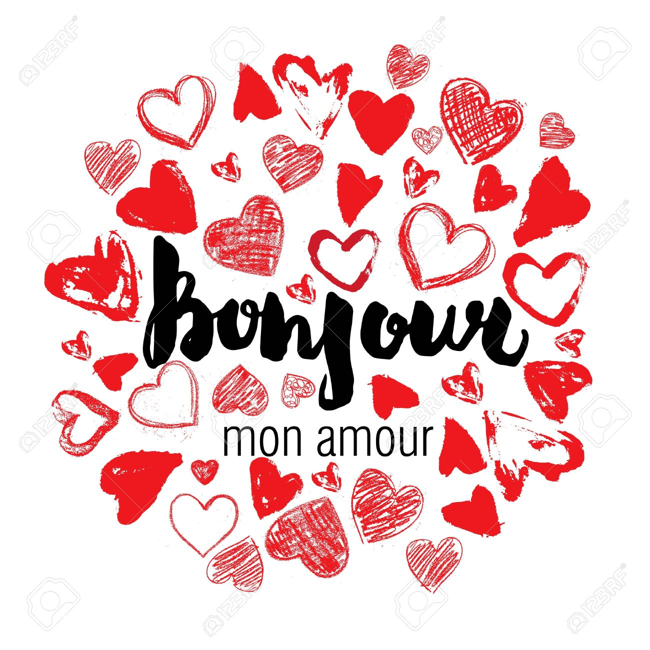 Bonjour Mon Amour Hello My Love French Stylish Hand Drawn