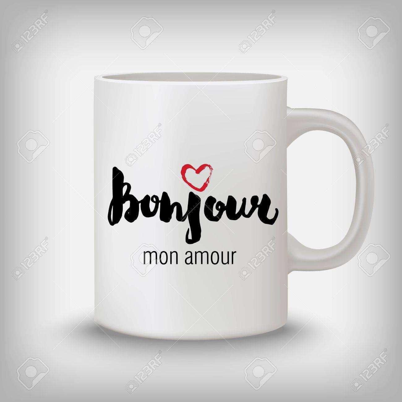 Bonjour Mon Amour Hello My Love French Stylish Hand Drawn Design