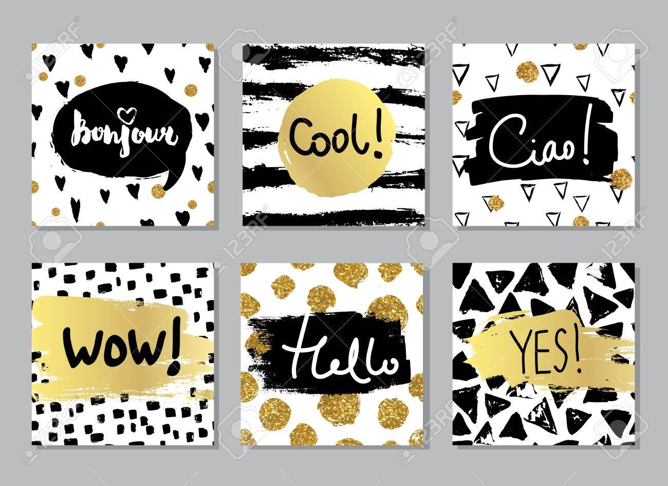 Creative fashion glamour hand drawn calligraphic card set. Vector collection of black, white, gold textured cards. Beautiful posters with geometric shapes. Sign hello in french and italian. - 62012207